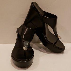 BCBG Black Wedge Sandals - Queenie